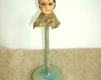c2cf8497741 Antique Vintage Doll Head Hat Stand Flapper Girl Bisque Doll Head Hat Stand   Vintage Hat Stand