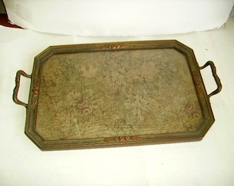 Antique Vintage Large Wood/Gesso /Cabbage Roses Tapestry Butler's Tray/Tapestry Under Glass Tray/Framed Tapestry Tray