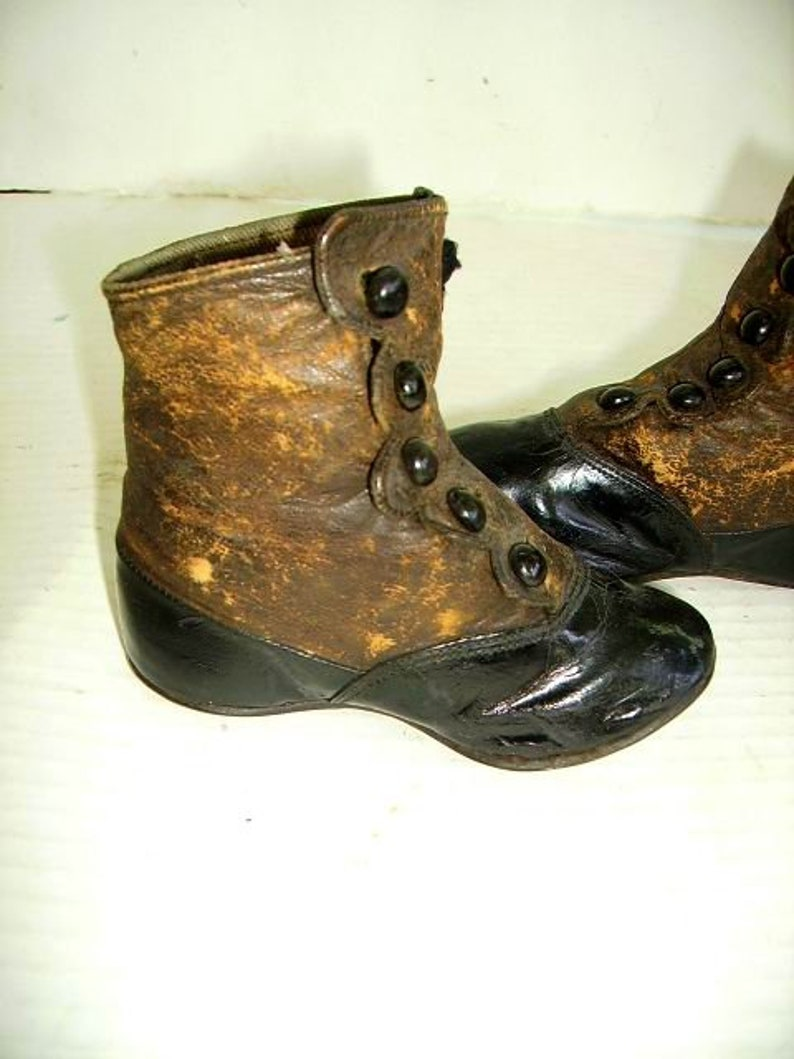 ca359f0d88507 Antique Victorian Childs High Top Button Up Pair Shoes/ Two Tone High Top  Shoes/ Victorian/Edwardian Shoes