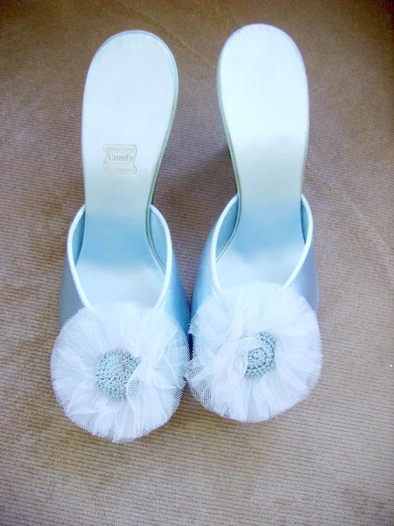 Fabulous Vintage Blue Satin Boudoir Slippers Heels