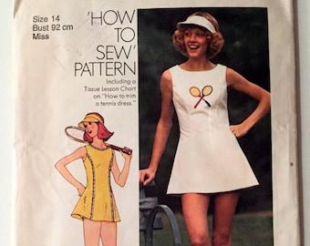 """Vintage Simplicity 6905 Tennis Dress Size 14 Bust 92cm 36"""""""