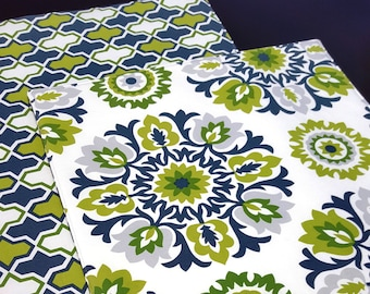 Blue and Green Reversible Placemats - Medallion Placemats  - Suzani - Heat Resistant - Set of 2