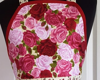 Gardening Apron - Women's Apron - Roses Apron - Floral Apron -  Red Apron - Pink Apron - Spring Apron - Summer Apron