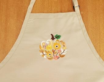 Autumn Apron - Fall Apron - Embroidered Thanksgiving Apron - Tan Apron - Chef Apron - Full Apron - Men's Apron - Women's Apron