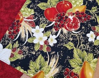 Reversible Fall Table Runner - Autumn Harvest Runner - Thanksgiving Runner - 72 Inches - Lined Cotton Runner - Thanksgivng Table Decor