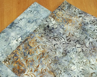 Reversible Batik Placemats - Set of 2 - Gray Placemats - Fall Placemats- Autumn Placemats - Cotton Placemats - Heat Resistant - Insulated