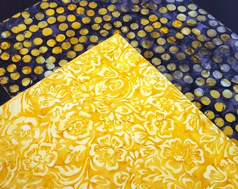 Yellow Batik Placemats  - Reversible Placemats - Heat Resistant Placemats - Abstract Placemats - Brown Placemats - Modern - Set of 2
