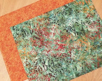 Fall Placemats - Set of 2 - Reversible Autumn Placemats -  Green Batik Placemats - Orange Placemats - Heat Resistant Cotton Placemats