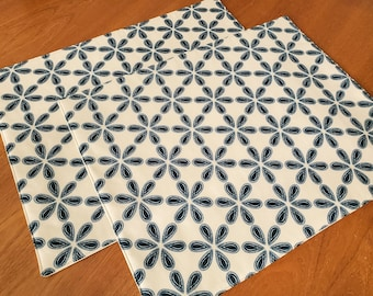 Modern Placemats - Set of 2 -Blue Placemats - Floral Placemats -  Tan Placemats - Heat Resistant - Cloth Placemats