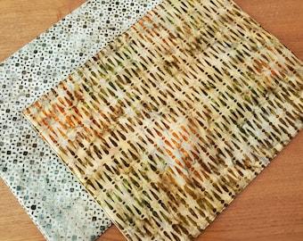 Gold Batik Placemats - Set of 2 - Fall Placemats- Autumn Placemats - Reversible Placemats - Green Placemats - Tan - Brown - Orange