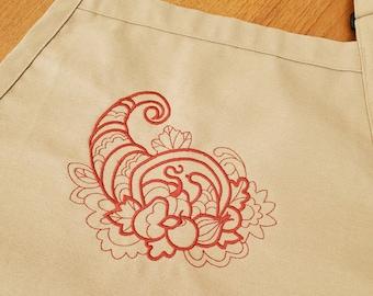 Embroidered Fall Apron - Thanksgiving Apron - Autumn Apron - Tan Cornucopia Apron - Chef Apron - Full Apron - Men's Apron - Women's Apron