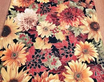 Floral Autumn Runner - Reversible Fall Runner - 60 Inches - Harvest Runner - Thanksgiving Table Runner - Red Gold Runner - Lined - Cotton