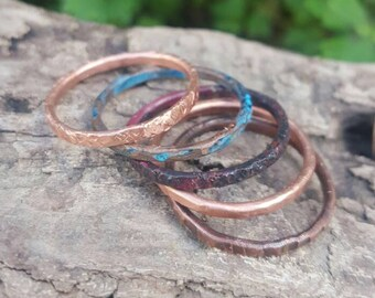 Copper Stackable Rings, Copper Ring, Skinny Rings Set of 5, Copper Band Stacking Ring Set, Hammered Copper Ring,  Mixed Patina Stackers.