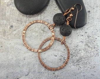 Essential Oil Diffuser Earrings Gift For Girlfriend Birthday Gifts Her Crunchy Mom Lava Stone Copper Dangle