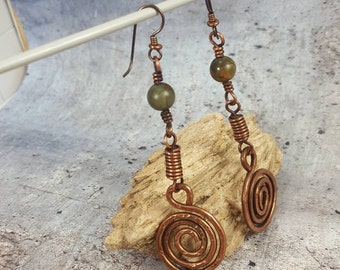 Copper Spiral Earrings. Rustic Dangle Earrings. Tribal Green Stone Jewelry. Copper Earrings,Drop Earrings Womens Gift. Earthy Mom Gift.