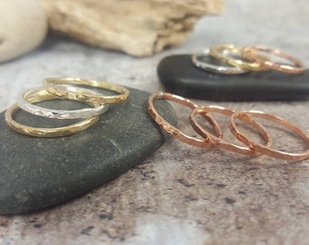 Hammered Silver Brass Copper Bronze Stacking Rings, Stackers, Rustic Stackable Rings, Minimalist Rings for Women, Mix and Match Metals