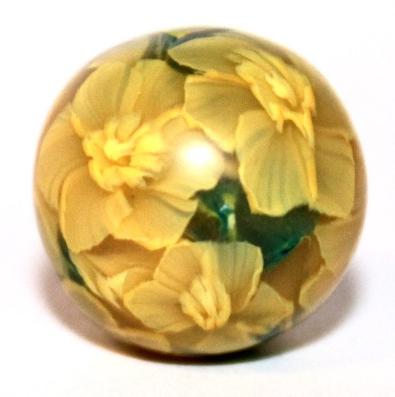 Polymer Clay Glass-like Murrine Translucent Cane Daffodil and image 0