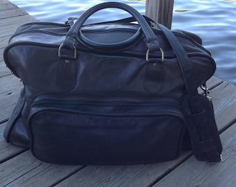 Vintage Brown Leather Duffel Bag