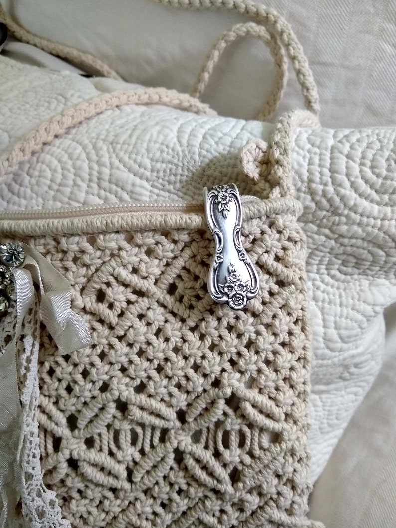 Purse hook keychain made from Vintage ornate ornate floral silver plate spoon handle flatware clip key finder key ring flowers
