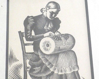 Vintage Framed Lacemaker Engraving from Scotland - Europe - Lacemaking - Small Print