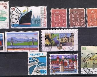 39 Vintage Postage Stamps , Water , Irrigation , Ships , Lighthouses , Bridges ,  Lakes , Sea , Sailor Knots
