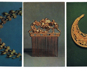 3 Vintage Russian Postcards - 1980 - with jewelry from 4th century BC