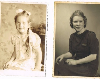 10 Vintage German Black and white Women Portrait Photograph Postcards , small collection of old German Women Portrait Postcards