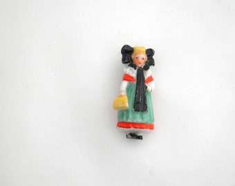 Vintage Brooch with Lady in Traditional Costume - Schaumburg-Lippe - Germany - Europe