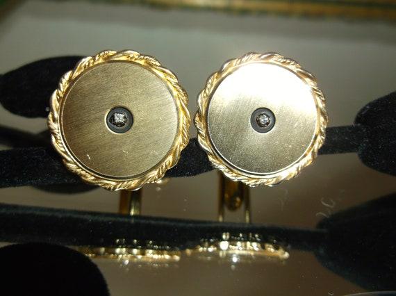Anson Diamond Cuff Links, Vintage Cuff Links, Mid