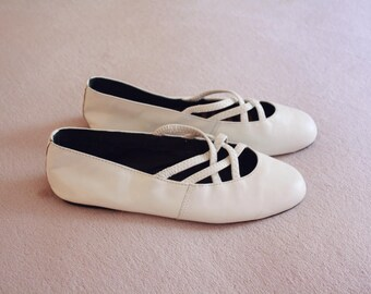 SAM&LIBBY Soft White Leather Braided Ballet Flats Size 5.5