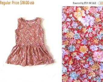 94bb323d19024 50% OFF SALE vintage dress girls children 90s handmade red yellow floral  print 1990s clothing size 8 10