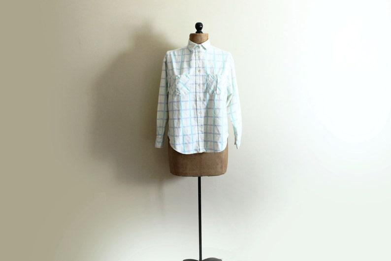 vintage shirt womens clothing 1980s blouse plaid flannel pastel colors pale yellow size medium m