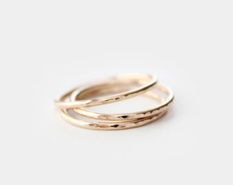 Gold Filled Stacking Rings - Thin Band Ring - Set of 3