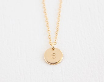 Petite Disc Necklace - 14k gold filled or sterling silver
