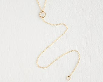 Halston Lariat Necklace - 14k gold filled or sterling silver