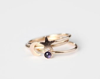 Birthstone Ring, Crescent Moon & Star Band Rings - 14k Gold Filled