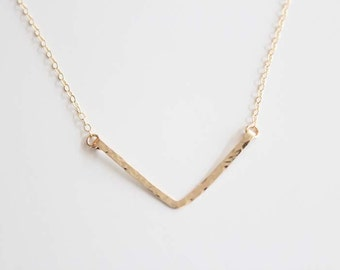 V Necklace - Hammered - Hand Forged - 14k Gold Filled or Sterling Silver