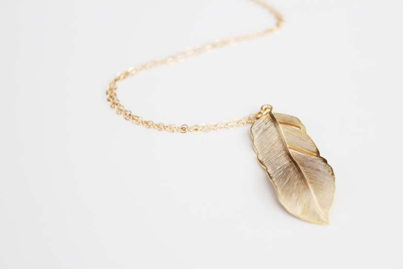 Long Feather Necklace  Gold  Flowing Feather  30 inch image 0