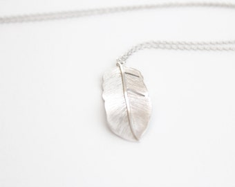 Long Feather Necklace - Silver - Flowing Feather - 30 inches