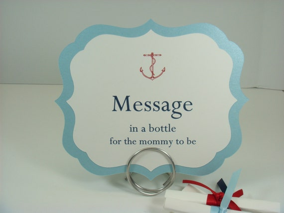 Nautical Baby Shower Message In A Bottle Sign And Text Paper Etsy
