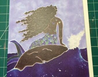 Black Mermaid Greeting Card