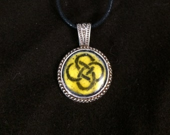 Yellow knotwork Glass Enamel Medallion Pendant