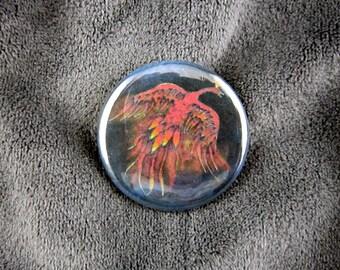 Creature of Fire-- Firebird pinback button or magnet