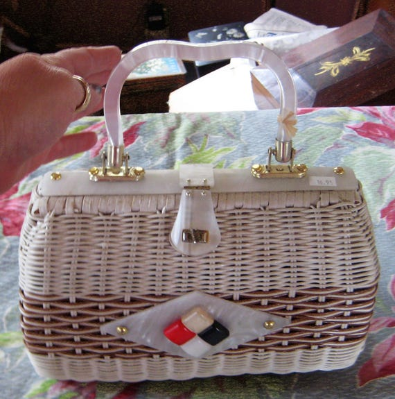 Summer Fun Wicker Purse Red White Blue Lucite Hand