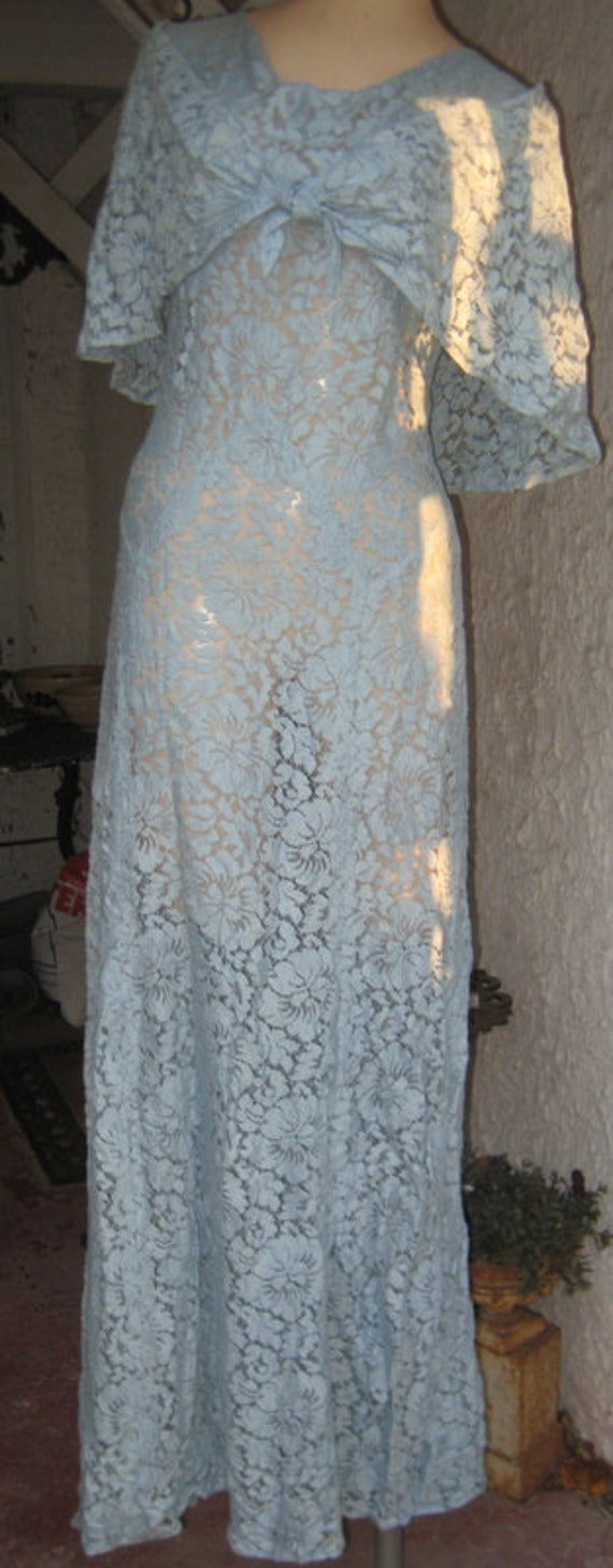 Lovely Long 1930s Baby Blue Floral Dress