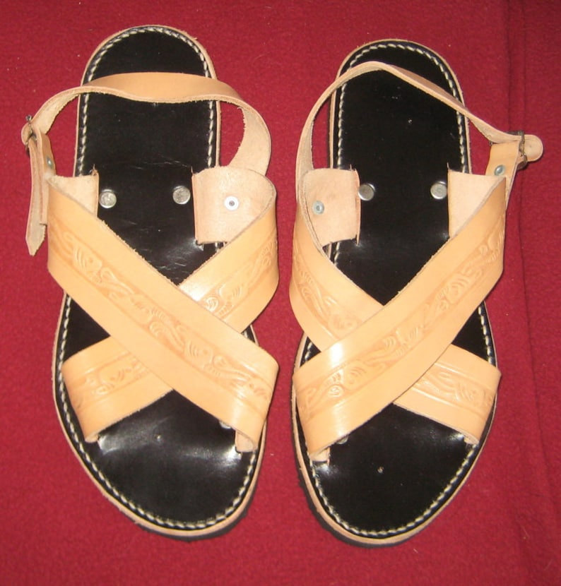add7c900c4a5a Summer Fun Retro Hipster Mens Leather Sandals Never worn 1960s 1970s