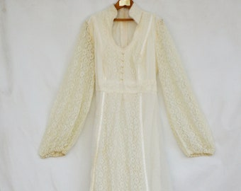 Vintage 70s Lace Wedding Dress/Retro/Boho/Bohemian/Hippie/Shabby chic