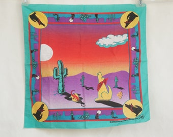 Vintage 80s Southwestern Cactus And Coyote Print Hankie/Scarf/Cowgirl/Western/Retro
