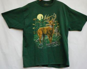 Vintage 90s Deer Print T-shirt/Woodland/XL Shirt