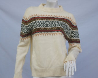 c3d2ed8d2a5 Vintage 70s Women s Fair Isle Sweater Nordic Sweater